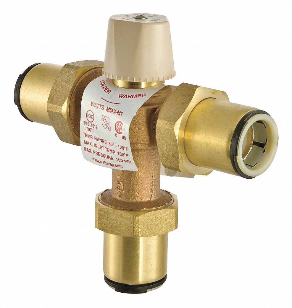 """Watts Thermostatic Mixing Valve: WATTS 3/4"""" Quick Connect Inlet Type Thermostatic Mixing"""