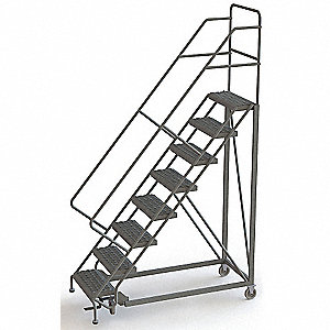 "Rolling Ladder, 116"" Overall Height, 450 lb. Load Capacity, Number of Steps 8"