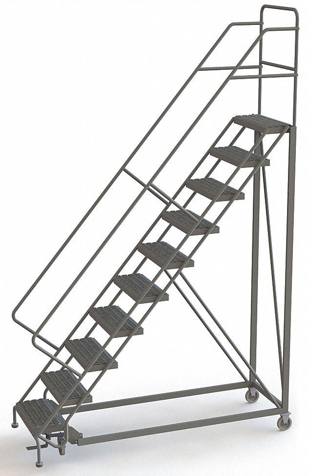 Tri Arc Rolling Ladder 10 Steps Serrated Tread 29rj44