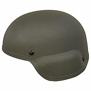 "OD Green Level IIIA Standard Cut Helmet, Shell Material: Aramid, Pad Thickness: 3/4"", Fits Hat Size:"
