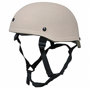 Tan Level IIIA Low Profile Helmet, Shell Material: Aramid, Fits Hat Size: Small