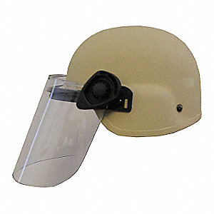 Tan Level IIIA Lightweight Helmet w/ Paulson Face Shield, Shell Material: Aramid, Fits Hat Size: Med