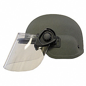 OD Green Level IIIA Lightweight Helmet w/ Paulson Face Shield, Shell Material: Aramid, Fits Hat Size