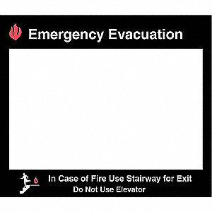 Emergency Evacuation In Case of Fire Use Stairway for Exit Do Not Use Elevator Sign