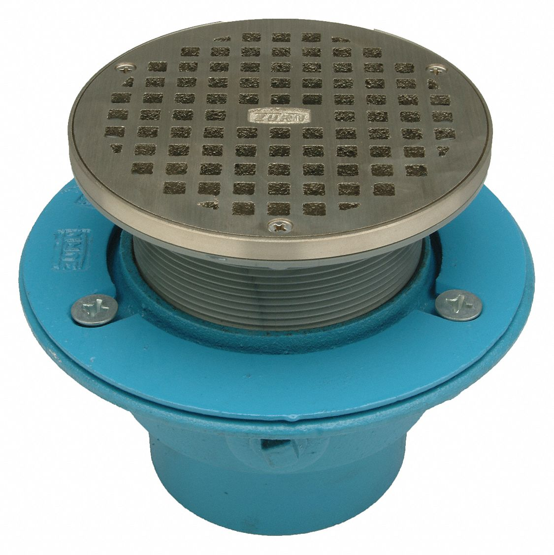 Zurn round floor drain cast iron no hub 29vn12 gr fr05ni for Ground drain