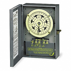 Electromechanical Timer, 125VAC Voltage, 40 Amps, Max. Time Setting: 21 hr.