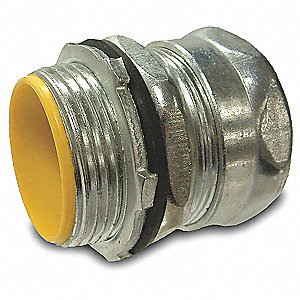 "Insulated Compression Connector, Rain Tight, Steel, 1/2"" Conduit Size"