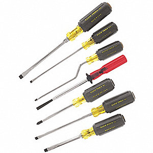 Assorted Screwdriver Set, Acetate with Vinyl Grip, Number of Pieces: 7