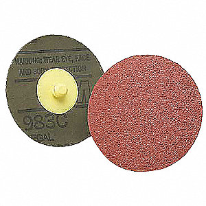 "2"" Locking Sanding Disc, Ceramic, TR, 60 Grit, Coarse, Coated, 983C, PK200"