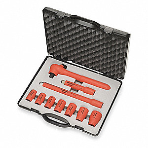 "Insulated Socket Wrench Set, Number of Pieces: 10, 3/8"" Drive Size"