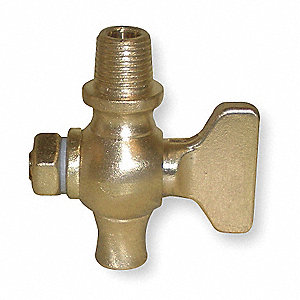 "3/8"" Brass Air Cock, Spring Bottom Type, MNPT Hexagon Shoulder x Straight Nose Connection Type"