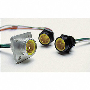 External Thread Receptacle, Number of Pins: 2, Female, Plug End: Straight, 600VAC/DC Max. Voltage