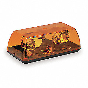 Amber Mini Lightbar, Halogen Lamp Type, Permanent Mounting, Number of Heads: 2