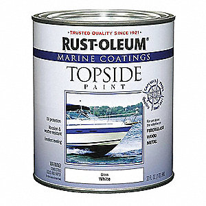 White Topside Paint, Semi-Gloss Finish, 100 sq. ft./gal. Coverage, Size: 1 qt.