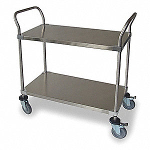 Shelf Cart, 600 lb. Load Capacity, Swivel (2), Swivel With Brake (2) Caster Type, Solid Surface