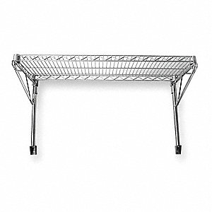 "Chrome Plated Wall Mounted Wire Shelving,Number of Shelves 1,14"" Height,24"" Width,14"" Depth"
