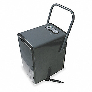 "Industrial Portable Dehumidifier, 115V, 7.3 Amps, Height 23-5/16"", Width 12-11/16"", Depth 17-7/8"""