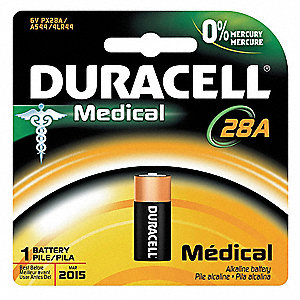 Alkaline Battery, Voltage 6, Battery Size 28A, 1 EA