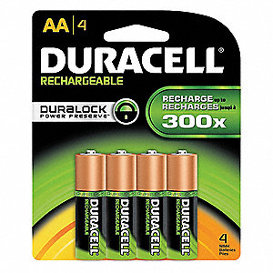 AA Nickel-Metal Hydride Rechargeable Battery, 2450mAh, Voltage 1.2, 4 PK