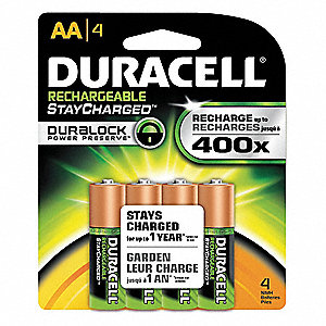 AA Nickel-Metal Hydride Precharged Rechargeable Batteries, 2000mAh, Voltage 1.2, 4 PK