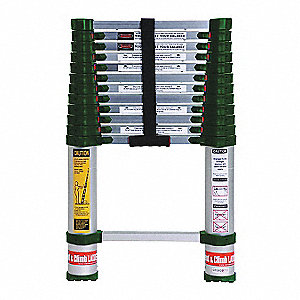 Aluminum Telescoping Ladder, 12-1/2 ft. Extended Ladder Height, 300 lb. Load Capacity
