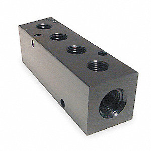 Black Anodized Aluminum Manifold, NPT Connection Type, Number of Inlets 2