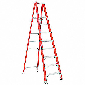 "Fiberglass Platform Stepladder,  7 ft. 7"" Platform Height, 300 lb. Load Capacity"