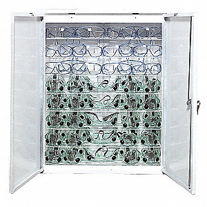 Eyewear Germicidal Cabinet, Holds (48) Glasses, (40) Goggles or a Combination of (36) Glasses and (1