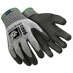 Polyurethane, Cut Resistant Gloves, High-Performance Polyethylene/SuperFabric® Lining, Gray/Black, M
