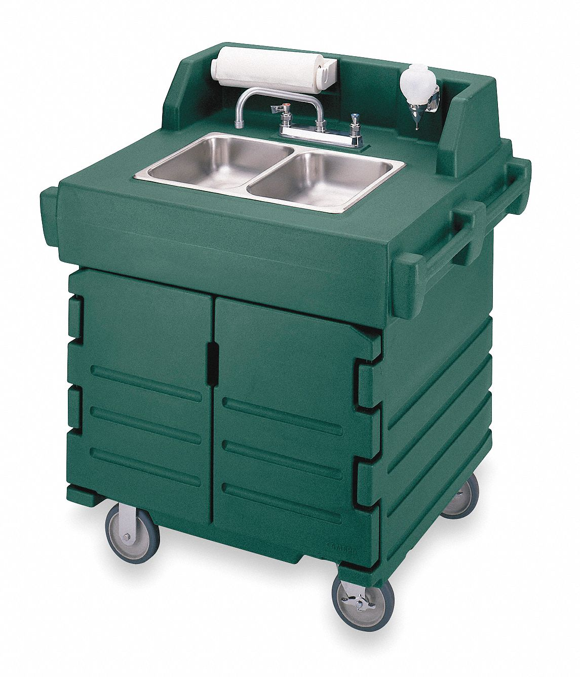 Cambro Double Bowl Hand Sink Cart Polyethylene 45 1 2 Quot X 40 9 16 Quot X 32 1 2 Quot 2mgf3