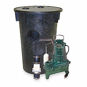 4/10 HP Simplex Sewage System, 240 Voltage, Basin Capacity: 33 gal.