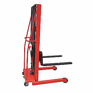 "Fixed Base Hydraulic Stacker, 1000 lb., Fork Width 3"", Fork Length 30"", Lifting Height Max. 64"""