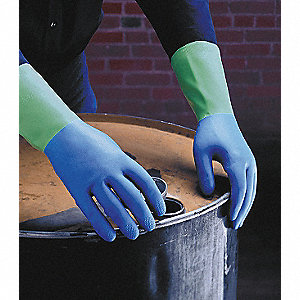 Nitrile/Natural Rubber Latex Chemical Resistant Gloves, 26 mil Thickness, Flock Lining, Size 6 to 6-