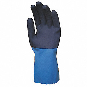 Neoprene Chemical Resistant Gloves, Standard Weight Thickness, Knit Lining, Size M, Blue/Black, PR 1