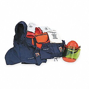 Navy 3XL Flame-Resistant Coat/Overpants Kit, 8 cal./cm2 ATPV Rating, 2 Hazard Risk Category (HRC)