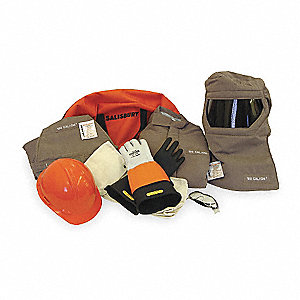 Brown 3XL Flame-Resistant Coat/Overall Kit, 100 cal./cm2 ATPV Rating, 4 Hazard Risk Category (HRC)