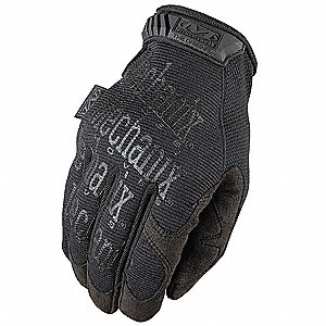 General Utility Mechanics Gloves, Synthetic Leather Palm Material, Black/Black, M, PR 1