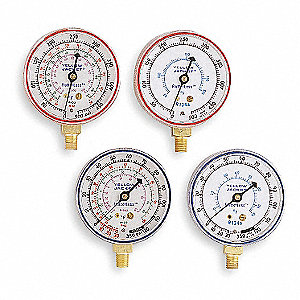 Gauge,2-1/2 In Dia,Low Side,Blue,120 psi