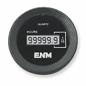 Hour Meter, 5 to 28VDC Operating Voltage, Number of Digits: 6, Round Bezel Face Shape