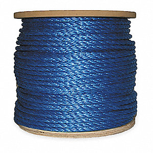 "Polypropylene Rope, 3/8"" Rope Dia., 600 ft. Length, Blue"