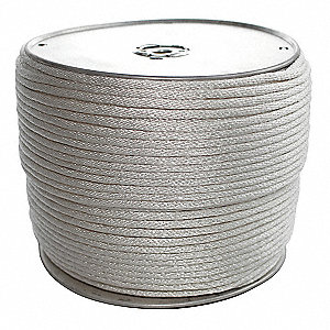"Polyester Utility Cord, 3/16"" Rope Dia., 1000 ft. Length, White"