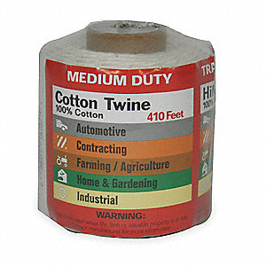 "Cotton Twine, 1/25"" Rope Dia., 410 ft. Length, White"