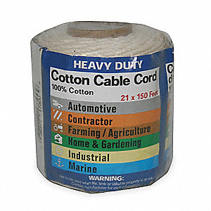 "Cotton Utility Cord, 1/14"" Rope Dia., 150 ft. Length, White"