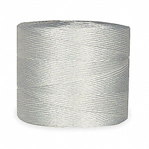 "Polypropylene Twine, 3/64"" Rope Dia., 8500 ft. Length, White"