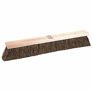 "Brown Palmyra Push Broom, Block Size 24"", Hardwood Block Material"