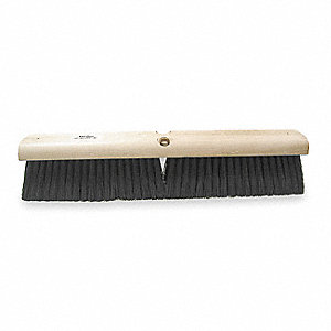 "Black Polypropylene Push Broom, Block Size 18"", Hardwood Block Material"