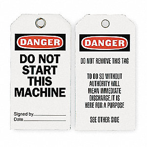 "Economy Polyester, Do Not Start This Machine Danger Tag, 5-3/4"" Height, 3"" Width, 25 PK"