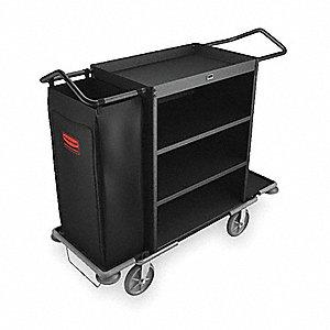 Black, Steel Housekeeping Cart, Number of Shelves 3