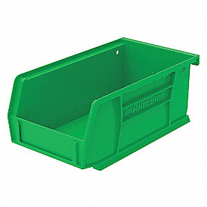 "Hang and Stack Bin, Green, 7-3/8"" Outside Length, 4-1/8"" Outside Width, 3"" Outside Height"