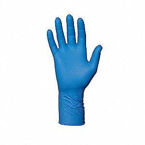 "Blues Disposable Gloves, Nitrile, Powder Free, L, 4 mil Palm Thickness, 11-1/2"" Length"